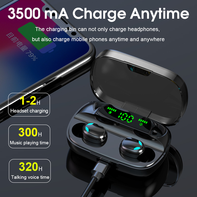 S11 Bluetooth 5.0 Wireless Earphone TWS Headphones Touch Control Earbuds 9D Gaming Headset 3500mAh Power Bank For Phone PK G20 1