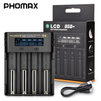 PHOMAX 3.7V D4 LED LCD Smart Display Display Voltage 18650 Fast Charger for IMR/Li-ion25500 17650 AA AAA Rechargeable Battery topsale nitecore d4 lcd intelligent circuitry global insurance li on imr aaa cr123 18650 14500 16340 26650 17500 battery charger