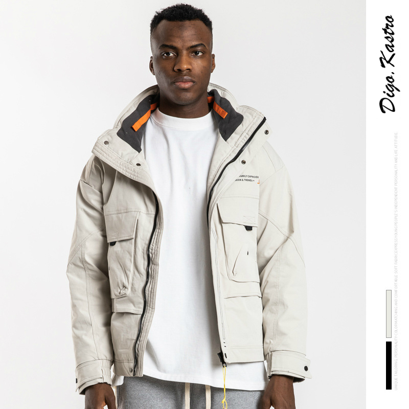 Original Stand Collar Down Jacket Men / Women Tooling Style Thicken Warm Down Jacket Streetwear Personality Couple Down Jacket