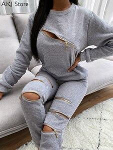Women Fashion Two-Piece Set Zipper Design Cutout Long Sleeve Top & Pants Set