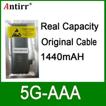 10pcs/lot Real Capacity China Protection board 1440mAh 3.7V Battery for iPhone 5G zero cycle replacement repair parts 5G-AAA