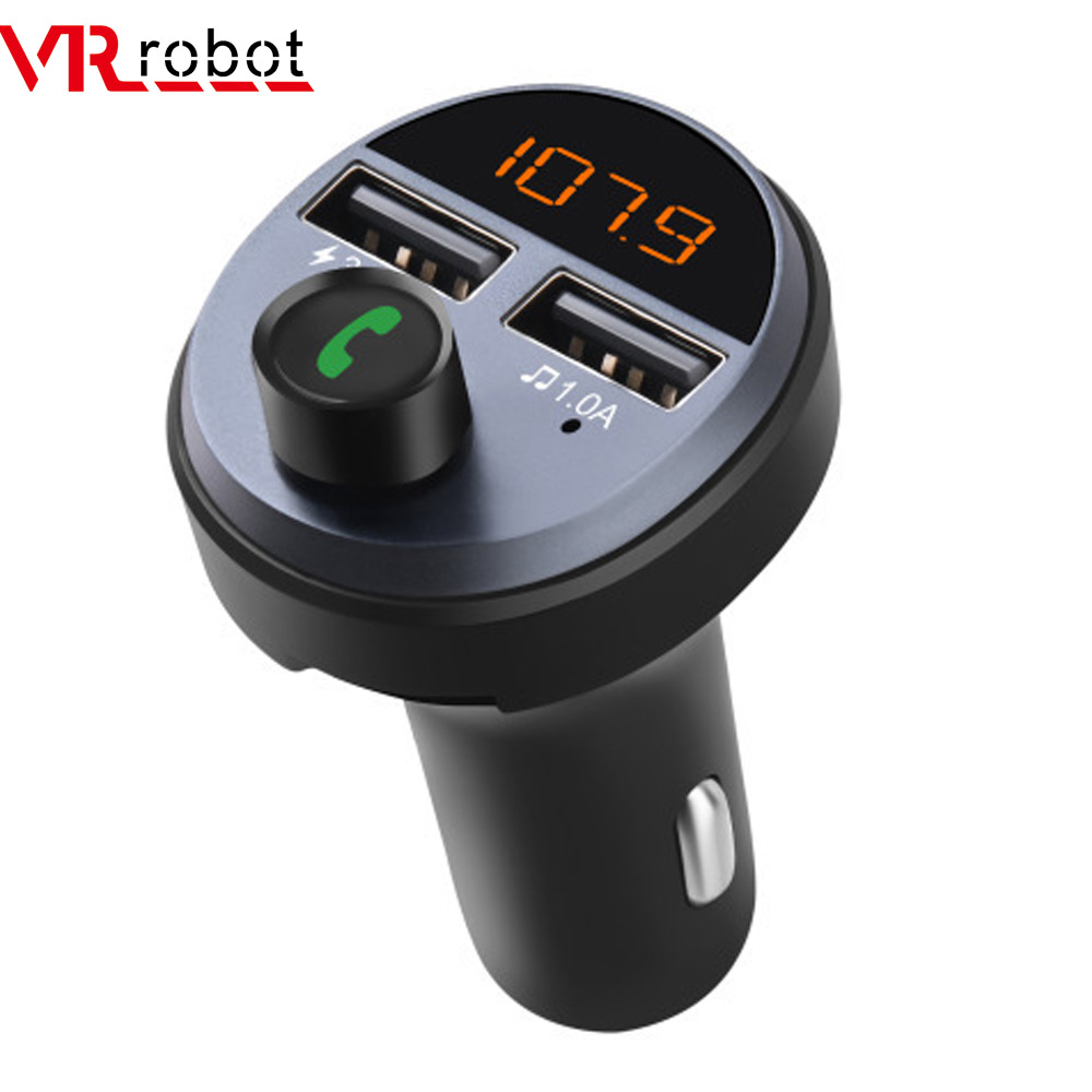 VR robot <font><b>Bluetooth</b></font> 5.0 <font><b>FM</b></font> <font><b>Transmitter</b></font> Wireless Handsfree <font><b>Car</b></font> Kit Audio <font><b>Car</b></font> <font><b>MP3</b></font> Player 5V 3.6A Dual USB Fast <font><b>Charger</b></font> <font><b>Adapter</b></font> image