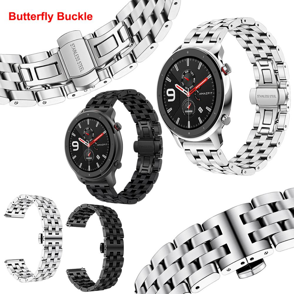 For Huami Amazfit GTR Strap 47mm Butterfly Buckle Stainless Steel Metal Replaceable Watch Band For Amazfit GTR Bracelet 47 42mm
