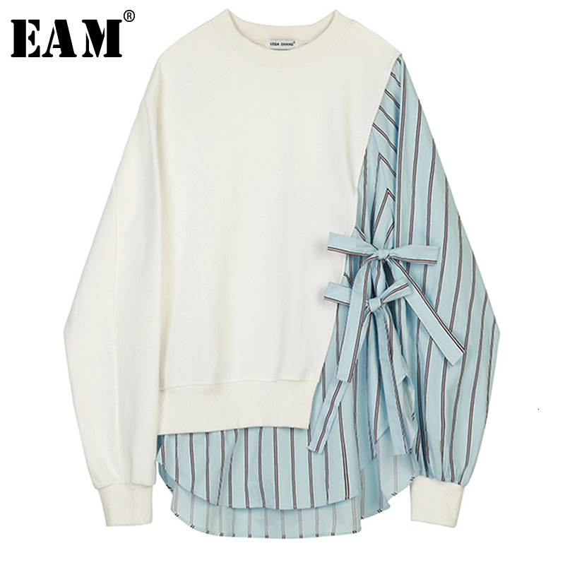 [EAM] Loose Fit Striped Spliced Hit Color Sweatshirt New Round Neck Long Sleeve Women Big Size Fashion Spring Autumn 2020 1B763 1