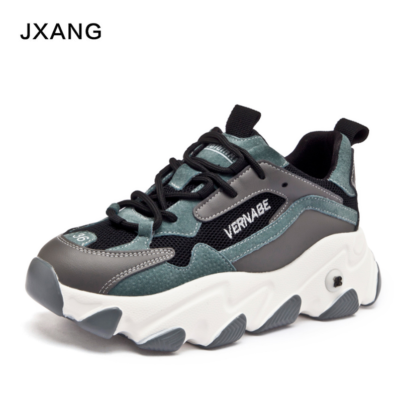 JXANG 2020  Winter Women Chunky Sneakers White  Leather Trainers Korean Fashion Female Platform Sport Old Dad Casual Shoes Woman