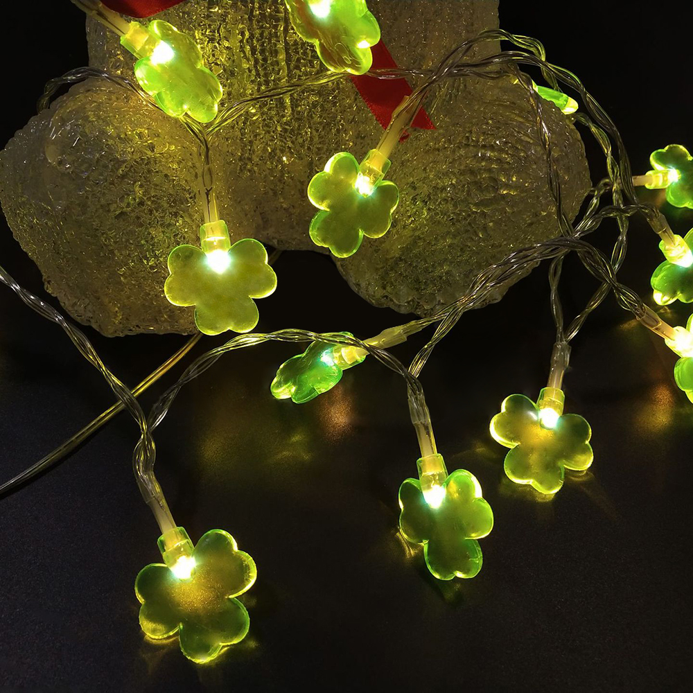 20 LED Beads Shamrocks String Lights With Remote For Wedding Birthday Patio Supplies DIY Home Parties Decorations