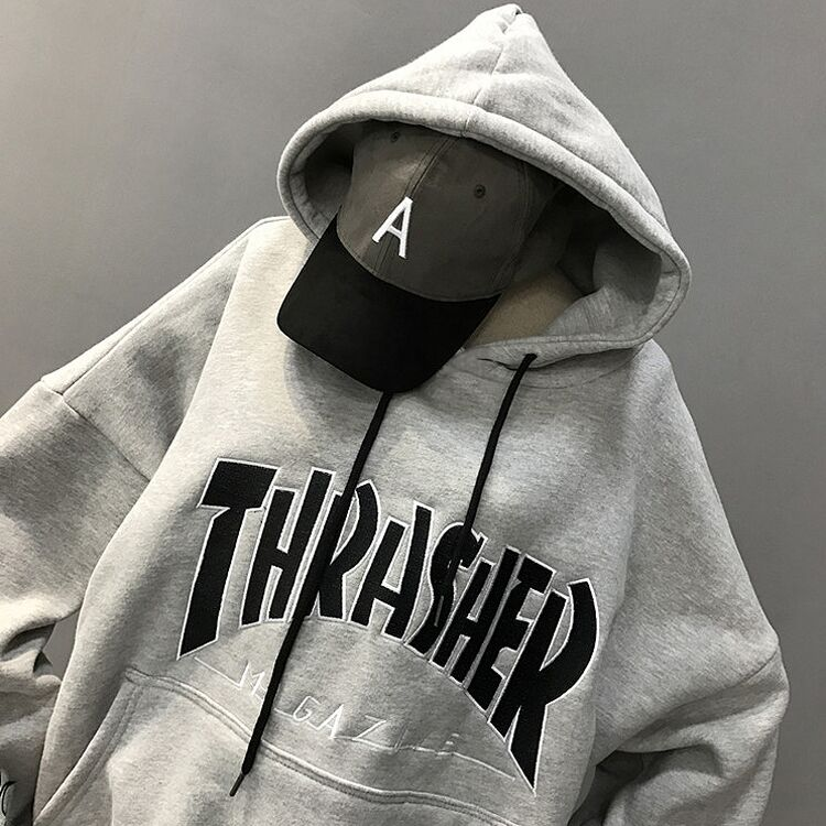 2020 grey BF men's and women's embroidered letters mixed hooded fashion couple coat