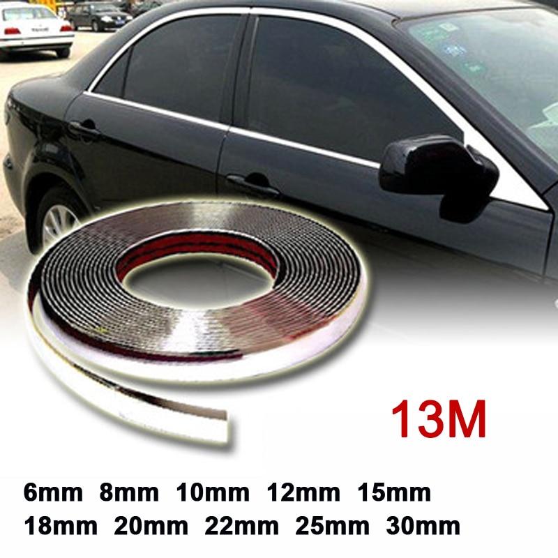 Vaorwne 20mm 5m Chrome Car Styling Moulding Strip Trim Self Adhesive Crash Protector Van