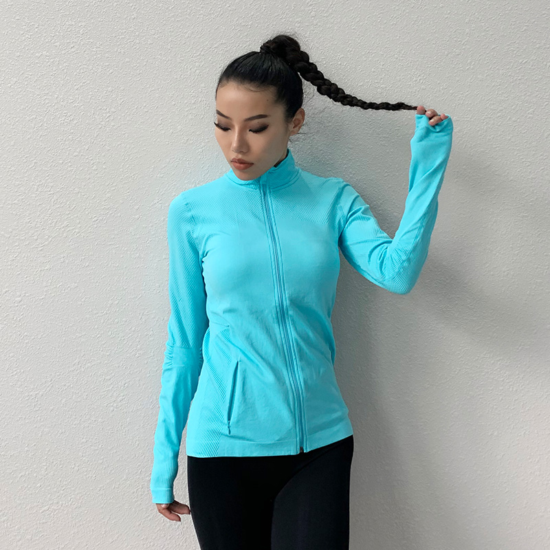 Seamless Sports Jacket Diagonal Zipper Design Long Sleeves With Thumb Hole Quick-drying Tops Yoga Running Fitness Shirt