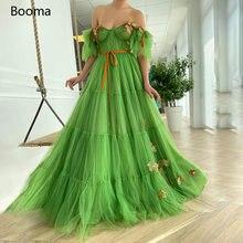 Booma зеленый Милая Выпускные платья с открытыми плечами и цветочным