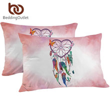 BeddingOutlet Heart Dreamcatcher Pillowcase Pink and Sky Blue Decorative Pillow Case Sleeping Pillow Cover Watercolor Bedding(China)