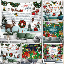 Merry Christmas Tapestry Wall Hanging Decor Carpet Home Decorative Throw