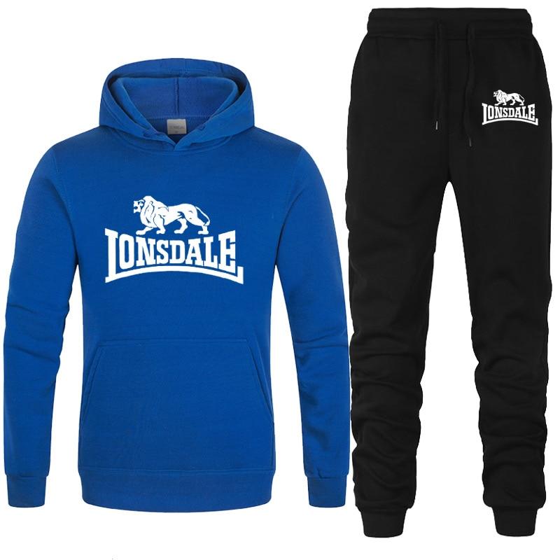 New Tracksuit Men Set  LONSDALE Print Hooded Sweatshirts Set Fleece Hoodies Sportswear Set Sweatpants Hoodies Men's 2 Piece Set