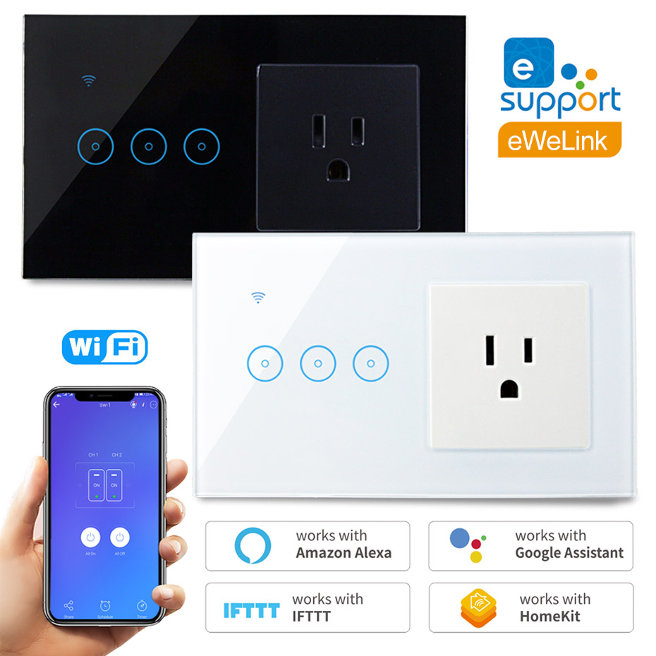 Wifi Wall Socket US Standard With Smart Light Switch 1 2 3 Gang 110V 120V Touch Switch Work With Alexa Google Home IFTTT EWeLink