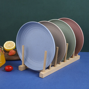 4 sztuk pszenicy słomy talerz gospodarstwa domowego lekki słomy pszenicy płyt-talerze zestawy dla dzieci dzieci maluch dorosłych płytkie talerze tanie i dobre opinie CN (pochodzenie) Stałe Plac Z tworzywa sztucznego