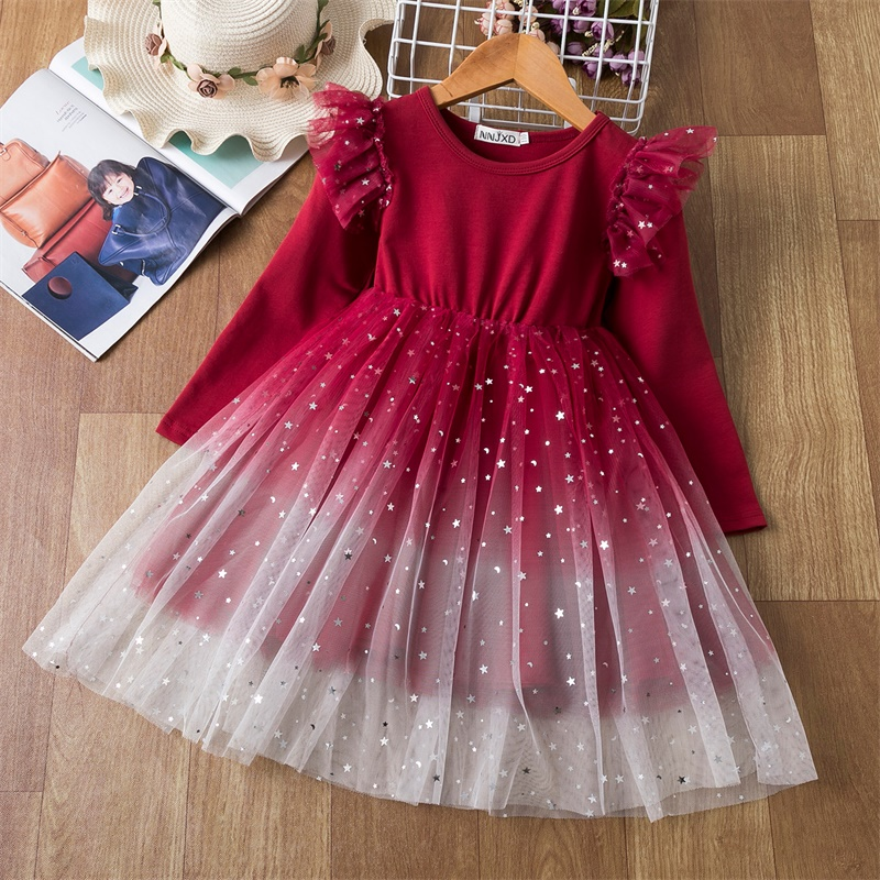 Girls Christmas Costume Lace Princess Dress Kids Long Sleeve Autumn Winter Clothing Children New Year Birthday Party Red Gown 8Y 1