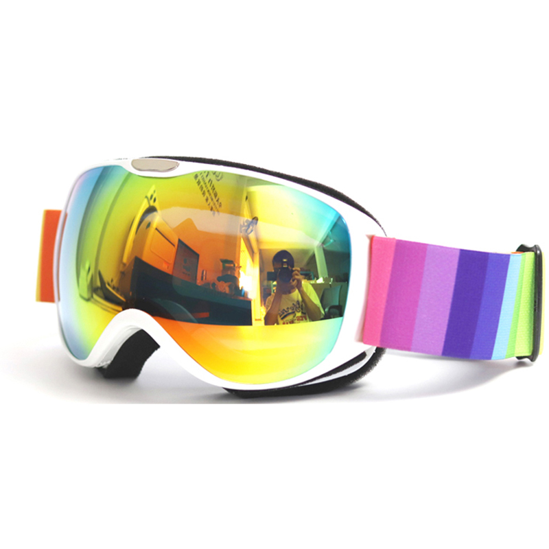 Anti-UV400 Children's Ski Glasses Double-layer Lens Windproof Anti-fog Children's Goggles Three-layer Sponge HD Goggles Climbing