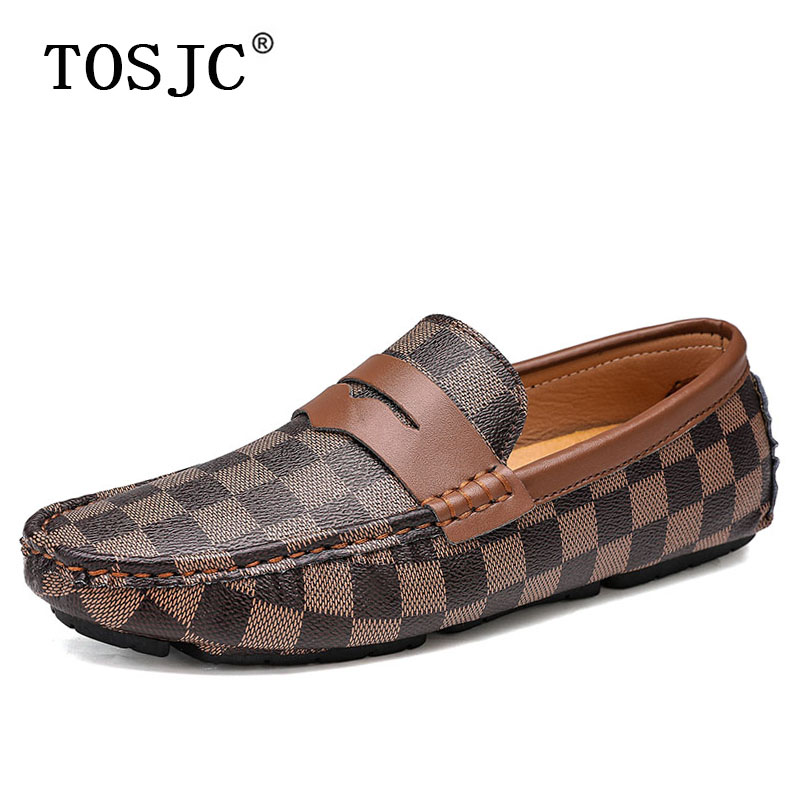 TOSJC Winter Mens Penny Loafers Warm Driving Shoes With Fur Fashion Plaid Moccasins Man Slip-on Boat Shoes Casual Flat Footwear