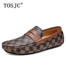 TOSJC Winter Mens Penny Loafers Warm Driving Shoes with Fur Fashion Plaid Moccasins Man Slip-on Boat Shoes Casual Flat Footwear new men s octopus leather penny loafers crocodile slip on driving shoes mens casual shoes moccasins business boat shoes branded