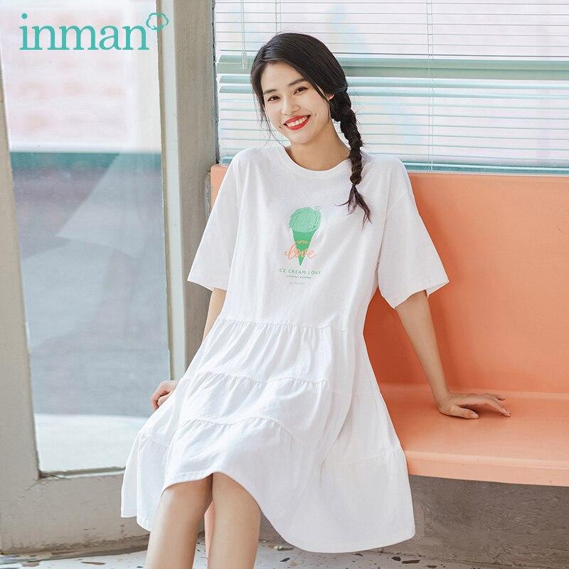 INAMN 2020 Summer New Arrival Ice Cream Print O-neck Short Sleeve Preppy Style Girlish Street Snap Loose Dress