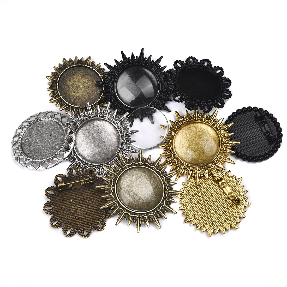 10pcs/Set Plated Pin Brooch Base Setting Pendant With Glass <font><b>Cabochons</b></font> <font><b>18x25mm</b></font> 30x40mm Round <font><b>Oval</b></font> Shaped Blank Jewelry Bases DIY image