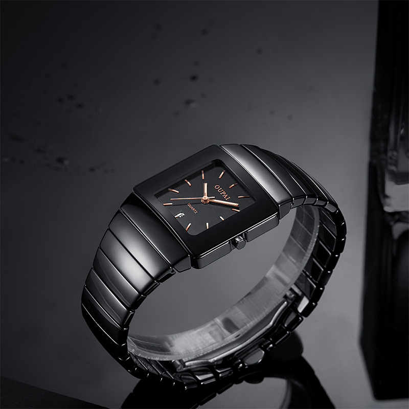 OUPAI Sliver Stone Tonneau Business Black Ceramic Watch Man Old Fashion Rectangle Dress Watch Ceramic Bracelet Waterproof 2020 Quartz Watches  - AliExpress