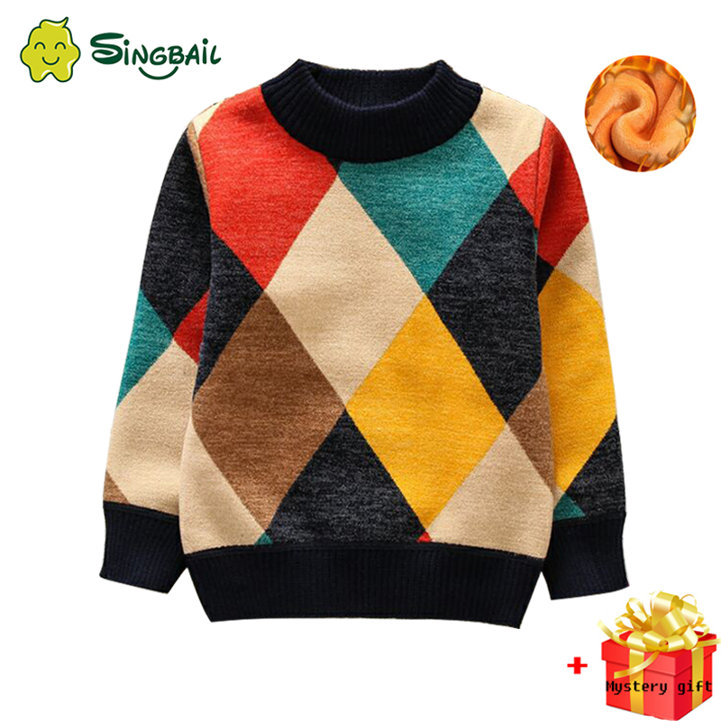 2020 New O-Neck Boys Sweaters Baby Stripe Plaid Pullover Knit Kids Clothes Autumn Winter Tops New Children Sweaters Boy Clothing