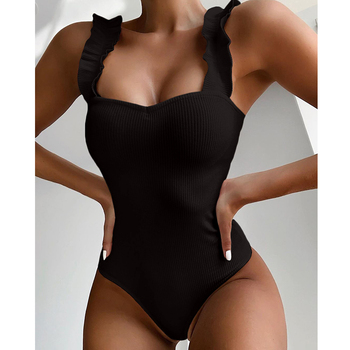 2020 New Sexy One Piece Swimsuit Women Wood Ear Ruffle Swimwear Push Up Monokini Bathing Suits Summer Beach Wear Swimming Suit 1