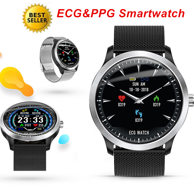 2020 NEW ECG PPG <font><b>Smart</b></font> <font><b>Watch</b></font> Men Electrocardiograph <font><b>Display</b></font> Smartwatch Woman Heart Rate Blood Pressure Monitor BLE Sports <font><b>Watch</b></font> image