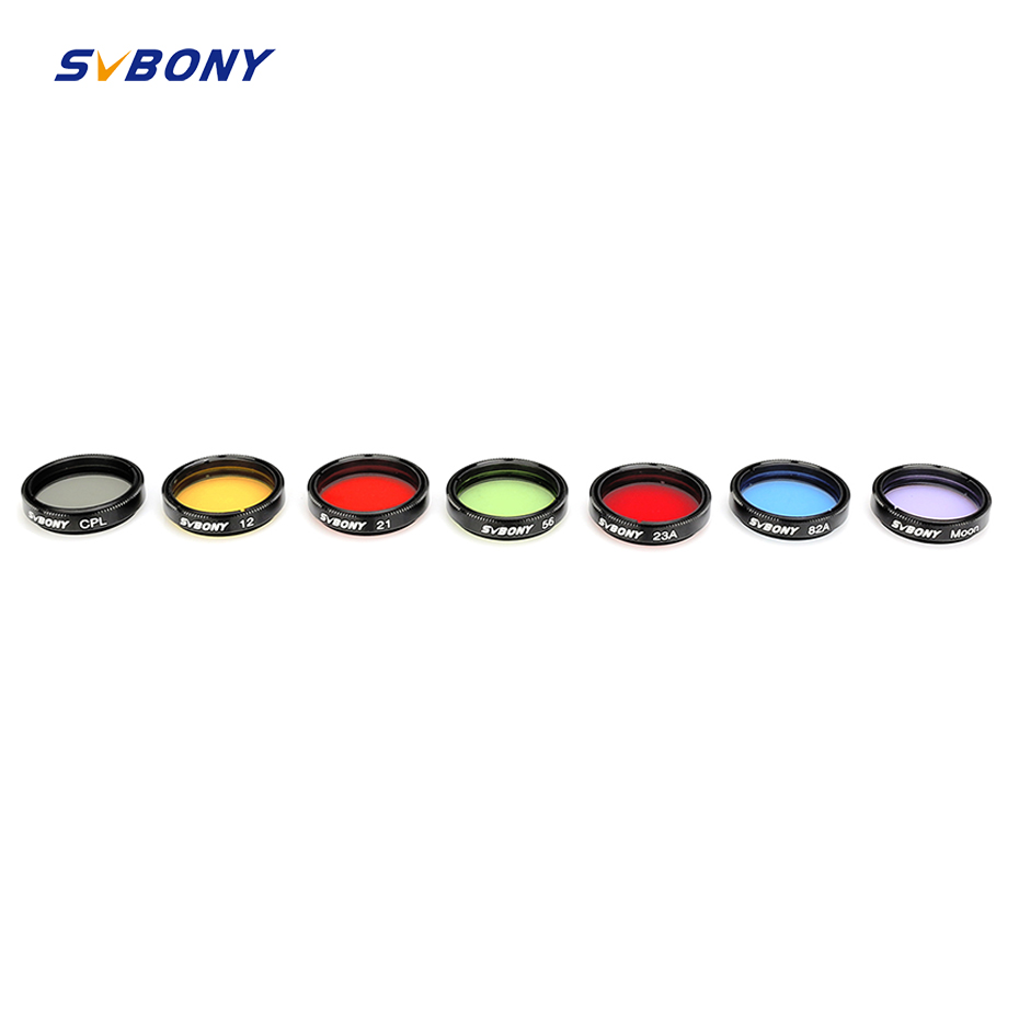SVBONY 1 25inch Moon Filter CPL Filter Five Color Filter Kit for Enhance Lunar amp Planetary View Reduces Light Pollution Best F9135A