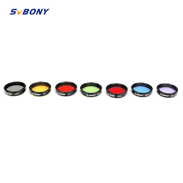 "SVBONY 1.25"" Moon Filter+CPL Filter+Five Color Filter Kit for Enhance Lunar&Planetary View Reduces Light Pollution Best F9135A"