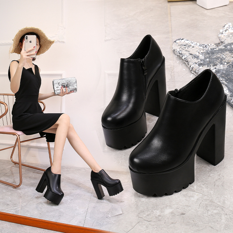2019 autumn new stage catwalk sexy super high <font><b>heel</b></font> women's shoes Thick with <font><b>14</b></font> <font><b>cm</b></font> fashion <font><b>boots</b></font> Martin <font><b>boots</b></font> image