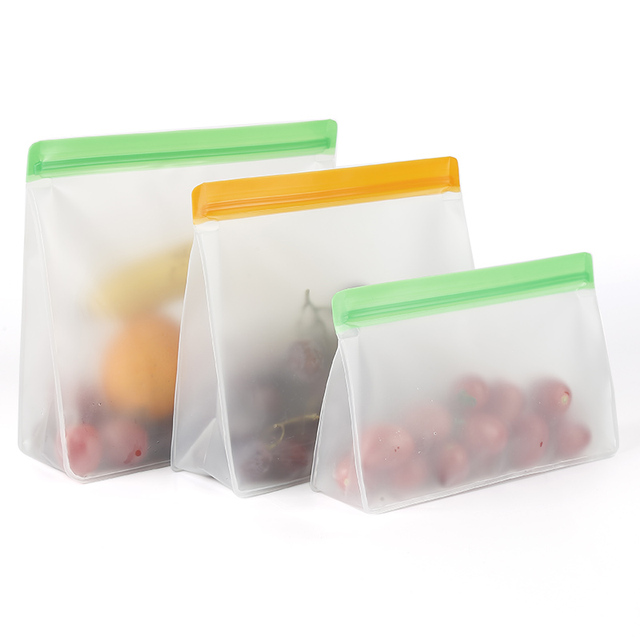 Food Storage PEVA Containers Set Stand Up Fresh Bags Zip Silicone Reusable Lunch Fruit Leakproof Cup Freezer Vegetable Cup Bowl 6