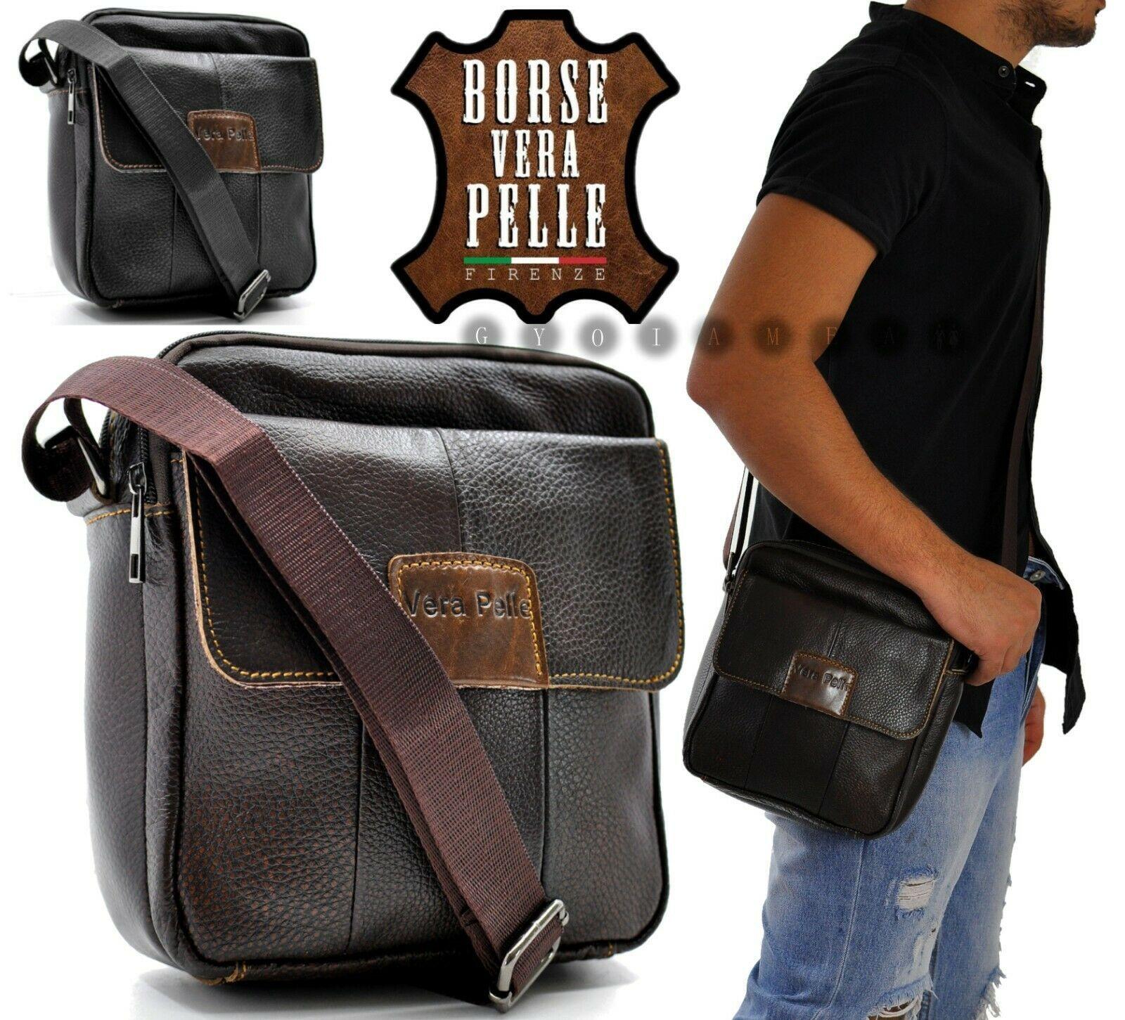 Men's Shoulder Bag Genuine Leather Bag Vintage Work Large Brown Black MADE ITALY ESPRESSO CASUAL CASE FASHION