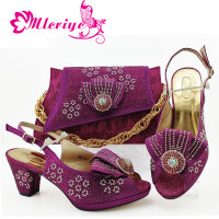 Nice Design Italian Shoes With Matching Bags Latest Rhinestone African Women Shoes and Bags Set For Sale