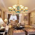 Французский блеск цинковый сплав светодиодные люстры освещение гостиной цветок стеклянный светодиодный светильник-люстра спальня крепеж ...