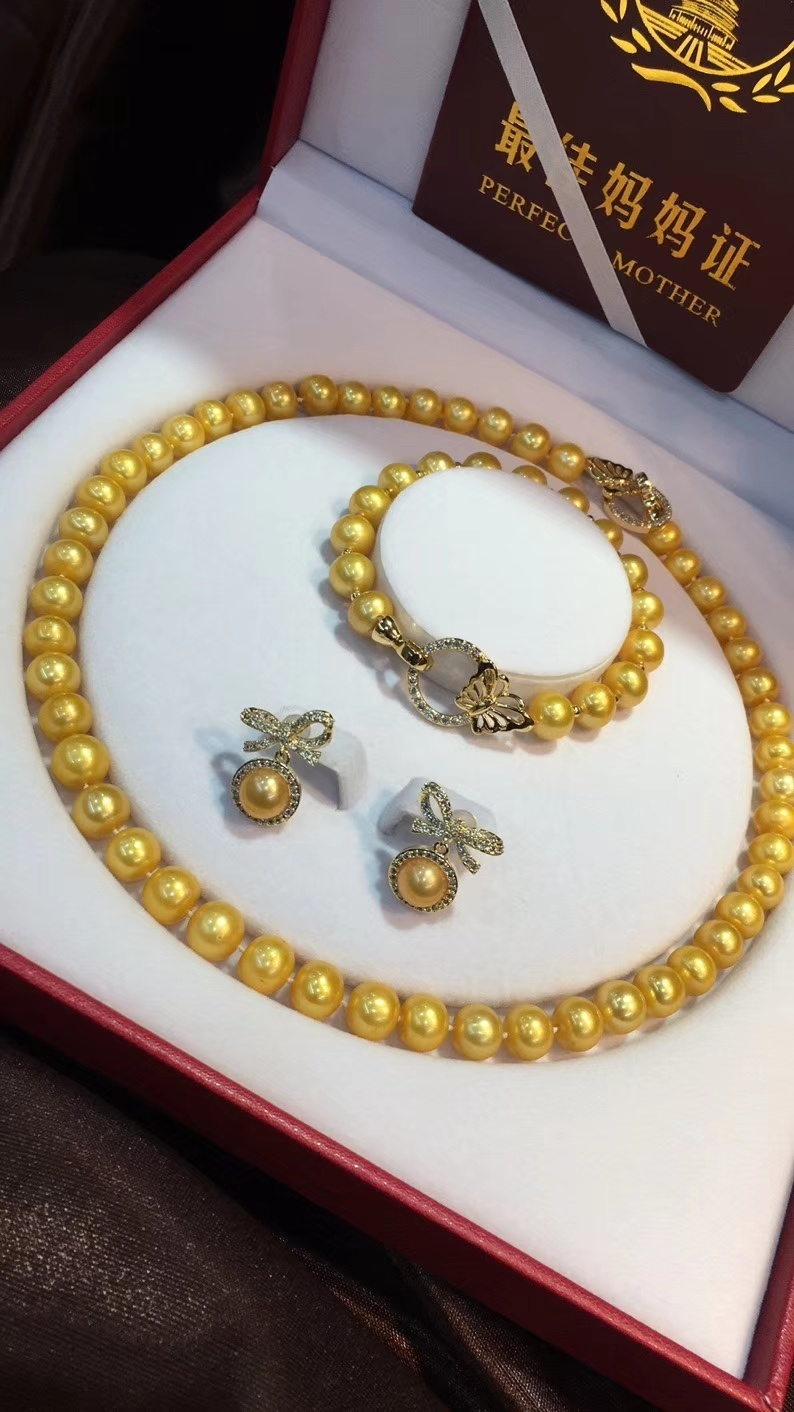 D410 Pearl Set Fine Jewelry Natural 9-10mm Almost Round Fresh Water Golden Pearls Jewelry Sets for Women Presents