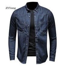 ZYYong Men's Fashion Blue Long Sleeve Denim Shirt High Quality Motorcycle Casual Trend Soft Comfortable Long Sleeve Men's Shirt long sleeve patch design suede insert denim shirt