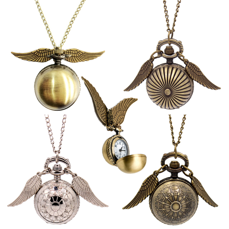 Anime Harri Golden Potter Wings Snitch Toy Watch Quartz Pocket Watch Necklace Balls Snitch Necklace Cosplay Toys Fly Thief Hobby