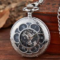Reloj de bolsillo mecánico dorado con cuerda a mano para hombre, esfera de Número Romano azul, reloj mecánico con tapa, con cadena Fob, caja de regalo