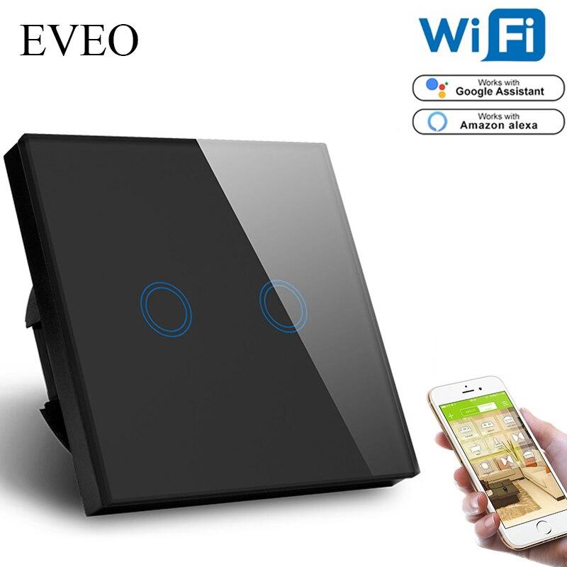 EVEO, norme EU Tuya vie intelligente commutateur WiFi compatible avec Google Assistant, Amazon Alexa commande vocale 2 Gang