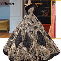 Puffy Ball Gowns Black Evening Dresses Formal Sequins Shiny Prom Dress Dubai Party Gowns Abendkleider Arabic Robe De Soiree 2019