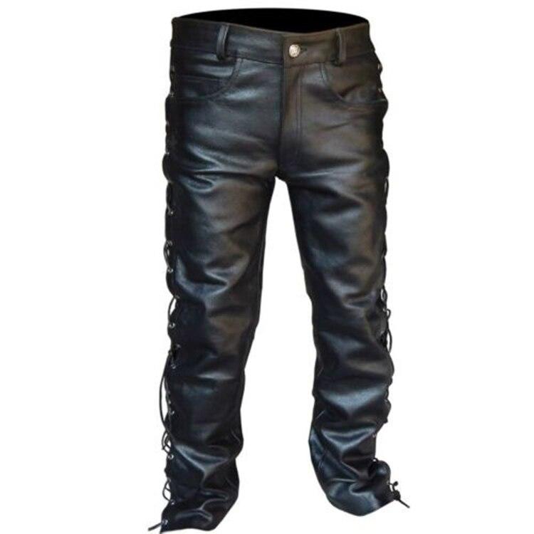 plus size mens clothing men's leather pants locomotive punk style pants for men Fashion winter mens clothes pantalon homme