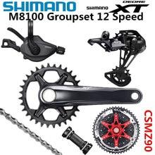 SHIMANO DEORE XT M8100 Groupset 32T 34T 36T 170 175Mm CranksetจักรยานเสือภูเขาจักรยานGroupset 1x12 Speed CSMZ90 m8100ด้านหลังDerailleur