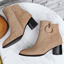 Damskie buty zimowe modne nity wysokie obcasy botki szpiczasty nosek śniegowe buty damskie na co dzień