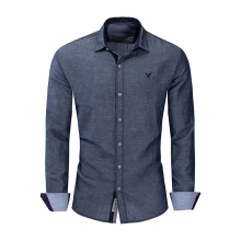 New Mens Shirt Long-sleeved Casual Embroidered Solid Color Cotton
