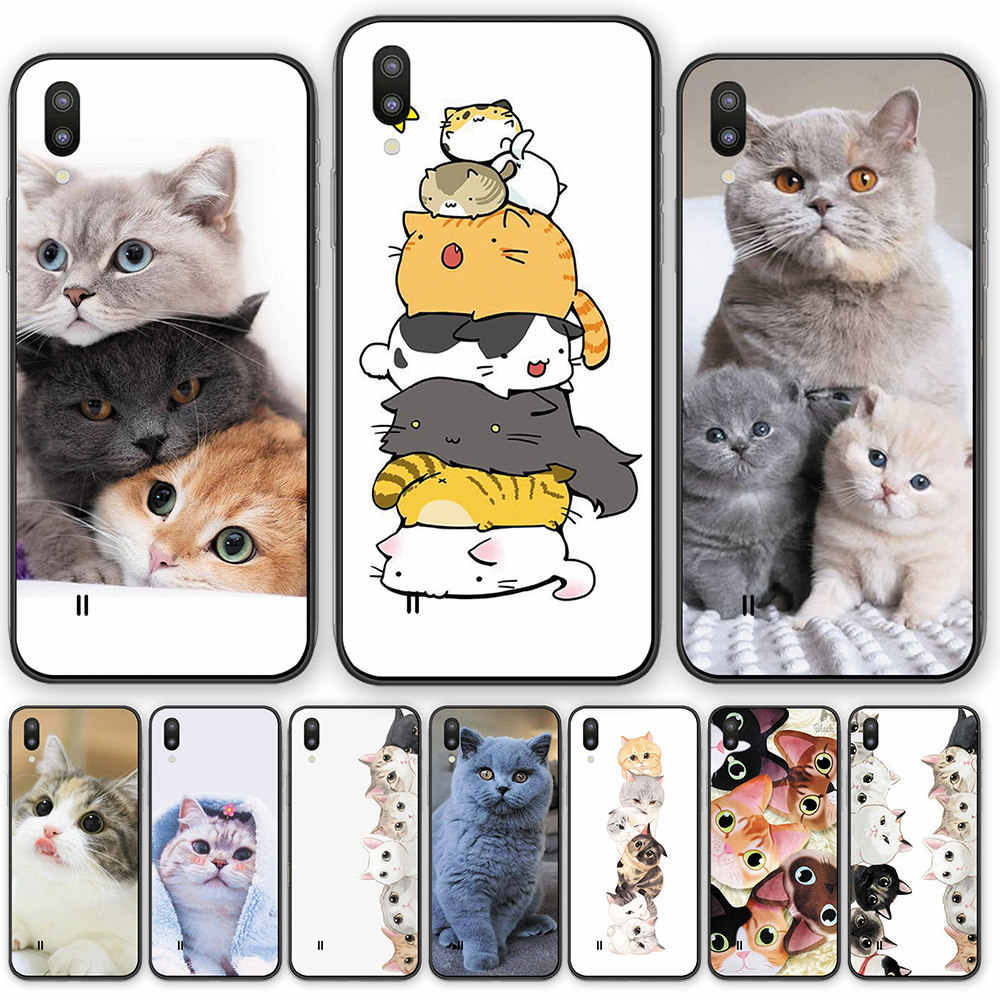 Cute Animal Cat silicone TPU back phone case cover For Samsung Galaxy A10 30 40 40S 50 60 70 510 520 710 720 A6S A8S A7 A9 2018