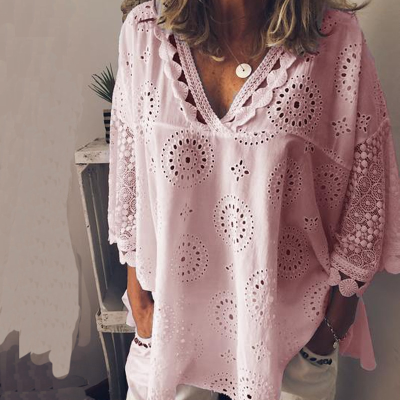 WOMEN'S Shirt 2019 Hot Selling WOMEN'S Dress Large Size Casual Hollow out Embroidered Europe And America WOMEN'S Shirt S-5xl