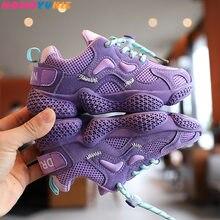 2020 outono novas crianças esportes sapatos de malha ar respirável crianças casuais tênis corrida sapatos macios para meninos meninas crianças
