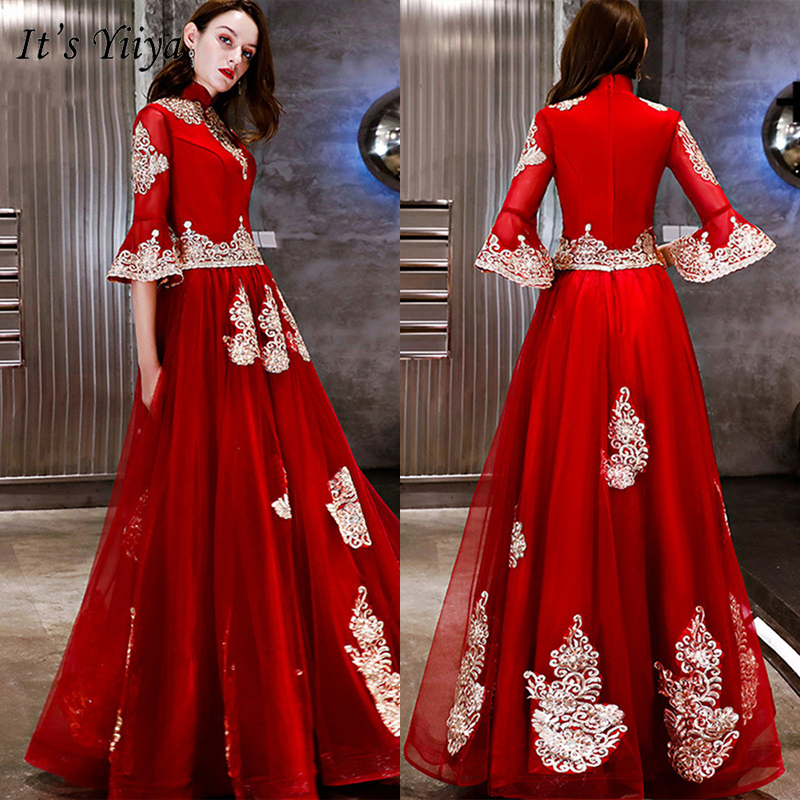 It's YiiYa Evening Dress 2019 Vintage Red Gold Embroidery Beading Formal Gowns Elegant Lace Flare Sleeve Robe De Soiree LX1285